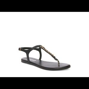 Steve Madden black sandals w/gold chain accent